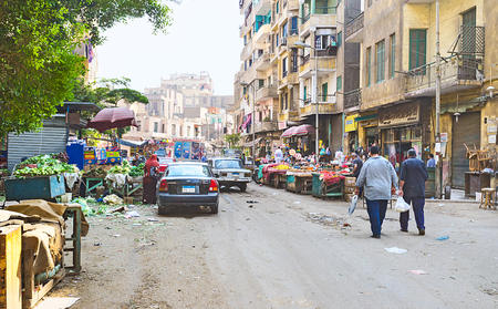 residential market: CAIRO, EGYPT - OCTOBER 9, 2014: The large food market in poor residential district, on October 9 in Cairo. Editorial