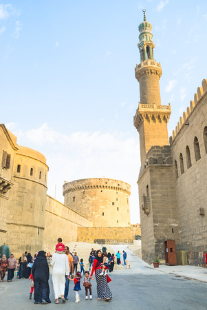 CAIRO, EGYPT - OCTOBER 9, 2014: The visiting of the Saladin Citadel is popular time spending among tourists and locals, on October 9 in Cairo.