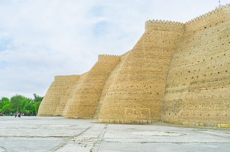 rampart: The rampart of the huge Ark fortress,  Bukhara, Uzbekistan. Editorial