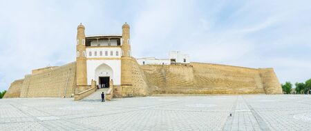 ark: Panorama of the Ark fortification with the gates,  Bukhara, Uzbekistan.