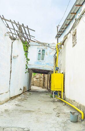 residential neighborhood: Dilapidated housing in the old residential neighborhood of Bukhara, Uzbekistan.