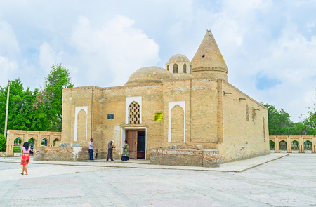 well made: BUKHARA, UZBEKISTAN - APRIL 29, 2015: Chashma-Ayub Mausoleum is built in honor of Job, who, due to the legend,  made a well in this place, on April 29 in Bukhara, Uzbekistan.