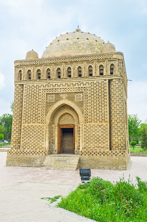 esteemed: The Samanid mausoleum is one  of the most esteemed sights of Central Asian architecture, Bukhara, Uzbekistan. Editorial