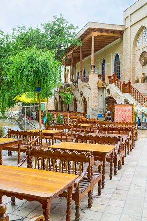 sufi: The cozy outdoor cafe in the old town center of Bukhara, Uzbekistan.