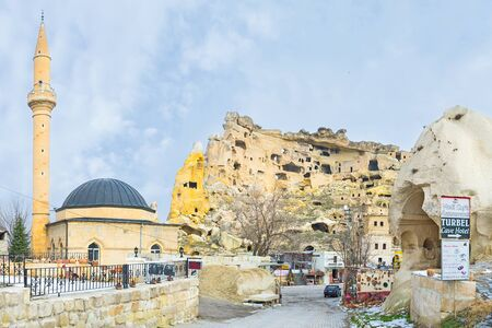 goreme: CAVUCIN, TURKEY - JANUARY 18, 2015: The small village is famous for the old shelters carved in rock, on January 18 in Cavucin.