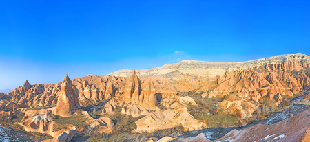 romantic places: Panorama of the Rose Valley, one of the most romantic places in Cappadocia, Turkey. Stock Photo
