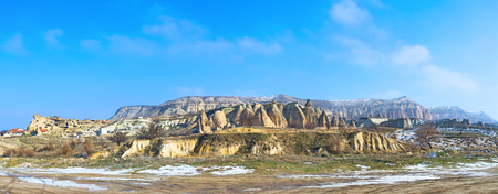 large formation: Panorama of the large volcanic rock formation, named the Rose Valley, Cappadocia, Turkey. Stock Photo