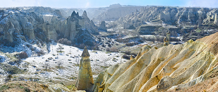 especially: The nature of Cappadocia is especially beautiful in winter, Turkey. Stock Photo