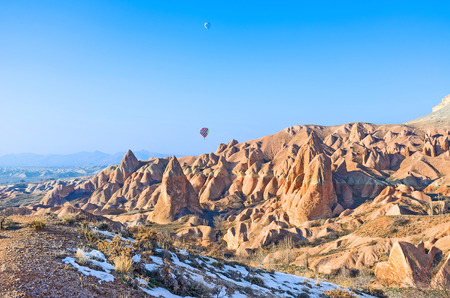 goreme: Tourists visit Cappadocia every season and enjoy the flights on the hot air balloons, Turkey. Stock Photo