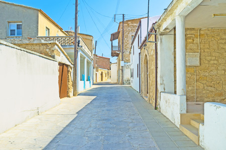 maroni: The stone street with the tiny old houses, Maroni, Cyprus.