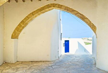 maroni: The view through the arch of the medieval house, Maroni, Cyprus.