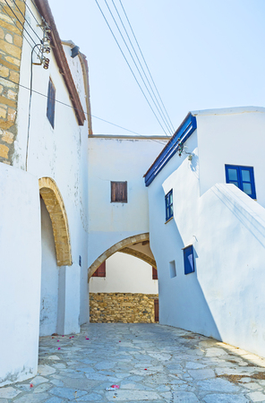 maroni: The old house with the arches, leading in different directed streets, Maroni, Cyprus.
