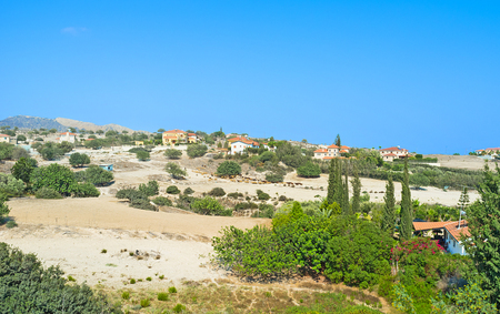 maroni: The hills of Maroni overlooks the scenic mountains of Cyprus with the small houses, farms and gardens.