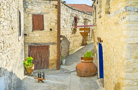 The cafe in a medieval house offers the best local cuisine and wines, Omodos, Cyprus. Zdjęcie Seryjne