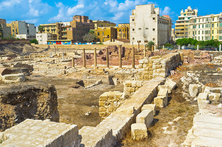 alexandria egypt: The ruins of the ancient Roman architecture in Alexandria, Egypt.