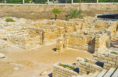 alexandria egypt: The preserved walls of the ancient stone buildings of the Roman period, Alexandria, Egypt.