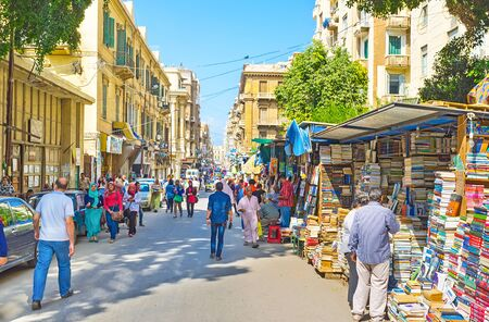 nabi: ALEXANDRIA, EGYPT - OCTOBER 11, 2014: The numerous book stands and kiosks at Nabi Daniel Street are the part of the famous book market, on October 11 in Alexandria.