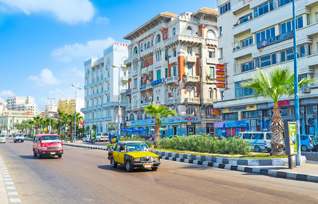 nabi: ALEXANDRIA, EGYPT - OCTOBER 11, 2014: El-Gaish Road runs along the central promenade and boasts luxury hotels, comfortable restaurants and brand stores, on October 11 in Alexandria.