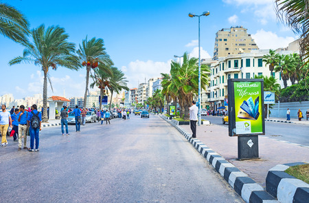 best place: ALEXANDRIA, EGYPT - OCTOBER 11, 2014: The comfortable mediterranean promenade with numerous shady palms is the best place for daily walks, on October 11 in Alexandria.
