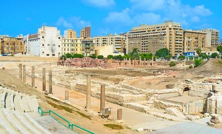 alexandria egypt: The ruins of the ancient Roman town in Alexandria, Egypt. Stock Photo