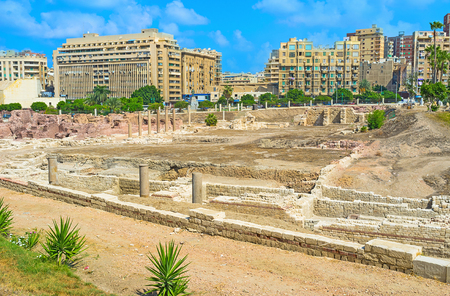 archaeological site: The archaeological site of Alexandria consists of the preserved foundations, ruined columns, amphitheatre and some sculptures, Egypt. Stock Photo