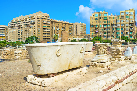 archaeological site: The beautiful marble bath in archaeological site of Alexandria, Egypt.