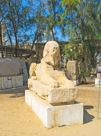 archaeological site: The bad preserved statue of the Egyptian Sphinx in the archaeological site of Alexandria, Egypt. Stock Photo