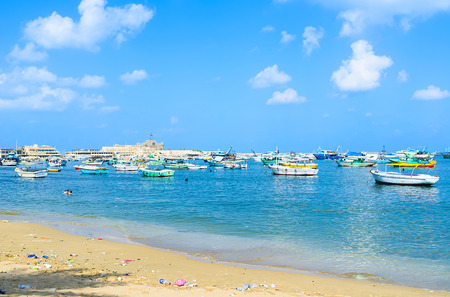 alexandria egypt: The large fishing port in the Eastern Harbor of Alexandria, Egypt. Stock Photo