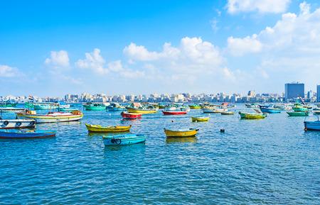 alexandria egypt: The large fishing port with the urban background, Alexandria, Egypt.