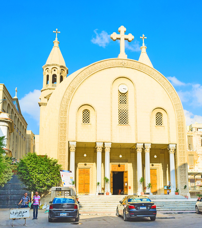 st mark: ALEXANDRIA, EGYPT - OCTOBER 11, 2014: The Coptic Cathedral of St Mark is the famous tourist destination in old town, on October 11 in Alexandria.