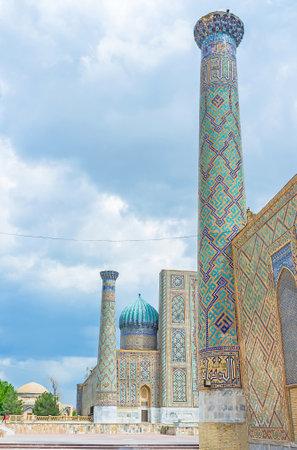 registan: The high colorful minarets of the old madrasahs on the Registan Square, Samarkand, Uzbekistan.