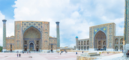 registan: SAMARKAND, UZBEKISTAN - APRIL 30, 2015: The ensemble of the Registan Square consists of unique madrasahs decorated with the colorful mosaic, on April 30 in Samarkand. Editorial