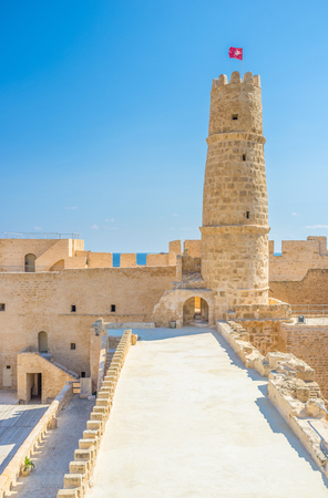 rampart: The rampart leads to the main tower of Ribat citadel, Monastir, Tunisia. Editorial