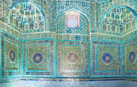oko: SAMARKAND, UZBEKISTAN - May 1, 2015: Panorama of the wall of Shodi Mulk Oko Mausoleum in Shah-i-Zinda architectural complex, on May 1 in Samarkand.