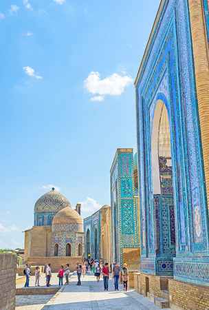 place of interest: SAMARKAND, UZBEKISTAN - May 1, 2015: The Shah-i-Zinda architectural complex is the place of historic and cultural interest, on May 1 in Samarkand.