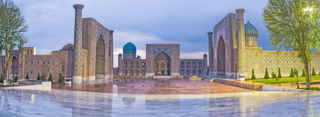 The rainy weather over the evening Registan square, Samarkand, Uzbekistan.