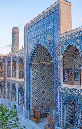 brighter: The glazed blue tiles become even more brighter during the sunrise, Samarkand, Uzbekistan.