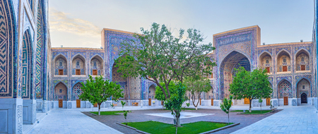 registan: The museum complex of Registan Square is the quiet and pieceful place before the sunrise, Samarkand, Uzbekistan.