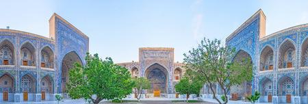 portals: Panorama of three inner portals of Sher-Dor Madrasah courtyard, Samarkand, Uzbekistan.