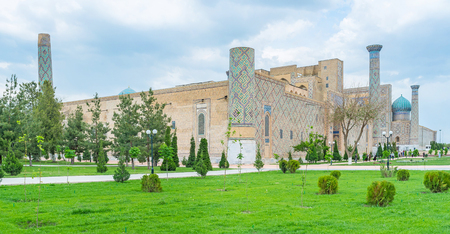 registan: The Registan Square is the visit card of the city, Samarkand, Uzbekistan. Stock Photo