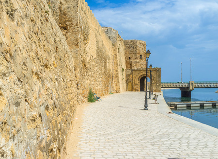 rampart: The stone rampart separates the old Medina from the fishing port, Bizerte, Tunisia.