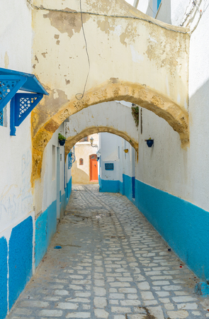 arabic architecture: The props are very important elements of the ancient arabic architecture, because the houses of Medina are tilted in different directions, Bizerte, Tunisia.
