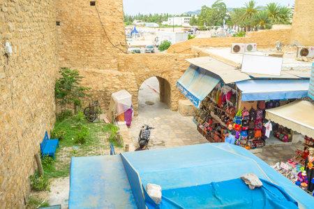souq: HAMMAMET, TUNISIA - SEPTEMBER 6, 2015: The old tourist market waits for the visitors, on September 6 in Hammamet.