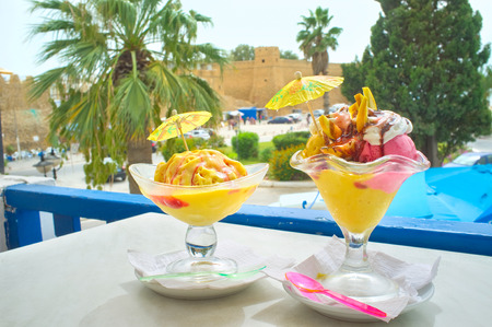 The cafes and bars of Hammamet boast the wide range of delicious desserts, Tunisia. Stock Photo