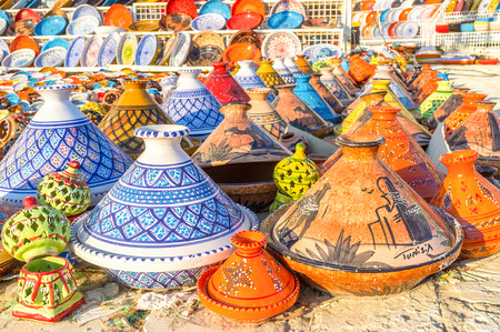 The hand made ceramic souvenits with colorful patterns in Al Kantaoui, Tunisia.