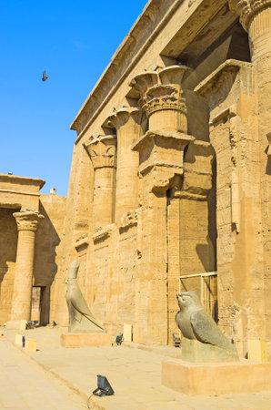 horus: Las estatuas de Falcones guardan la entrada a la Temle Horus, Edfu, Egipto.