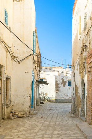 residential market: In the old Medina only the market and tourist streets are crowded, the residential neighborhoods are empty and quiet, Sousse, Tunisia.