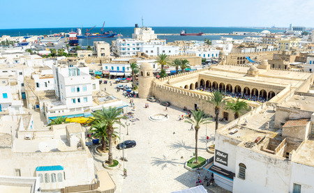 notable: SOUSSE, TUNISIA - AUGUST 28, 2015: The Ribat citadel and Grand Mosque are the most notable landmarks of Medina on August 28 in Sousse. Editorial