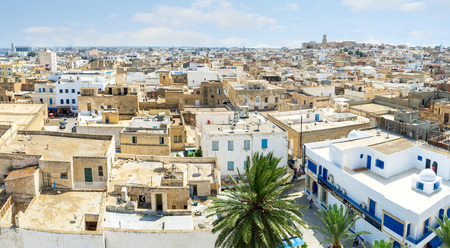 mohammedan: SOUSSE, TUNISIA - AUGUST 28, 2015: Aerial view of the Sousse Medina from the tower of Ribar, on August 28 in Sousse. Editorial
