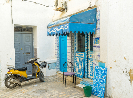 choise: SOUSSE, TUNISIA - AUGUST 28, 2015: The streets of Medina in Sousse are too narrow for cars, and the bike is the best choise here, on August 28 in Sousse.